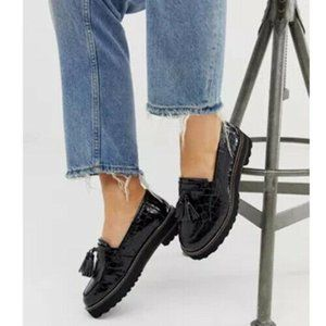 ASOS Women's Size 7 Black CHUNKY FRINGED LOAFERS